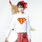 カマラオンテの「空を見ろ!」「鳥だ!」「飛行機だ!」「いや、エフエックスマンだ!」 FXマン スーパーマン パロディ ネタ 投資 トレーダー 外為 Long sleeve T-shirtsの着用イメージ(表面)