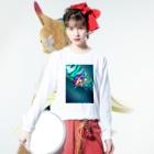 neon light starsのチャイナ Long sleeve T-shirtsの着用イメージ(表面)