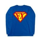 カマラオンテの「空を見ろ!」「鳥だ!」「飛行機だ!」「いや、エフエックスマンだ!」 FXマン スーパーマン パロディ ネタ 投資 トレーダー 外為 Long sleeve T-shirts