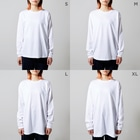 wa_cameのうずらだいすき白線 Long sleeve T-shirtsのサイズ別着用イメージ(女性)