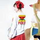 忍者スリスリくんのペケプロオフィシャル Long sleeve T-shirtsの着用イメージ(裏面・袖部分)