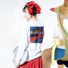 playfulの복고풍 패션 Long sleeve T-shirtsの着用イメージ(裏面・袖部分)