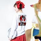 うの UNOのうの花魁 Long sleeve T-shirtsの着用イメージ(裏面・袖部分)