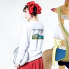 wamiの富士と藤 Long sleeve T-shirtsの着用イメージ(裏面・袖部分)