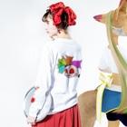 ③⑧限定★ゾンビーノ屋の★数量限定★ りぼんちゃん(当ショップロゴ入り) Long sleeve T-shirtsの着用イメージ(裏面・袖部分)