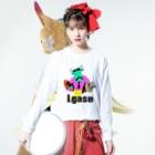 I.gasu🄬アイガスワールドのダンディーCOW【アイガス】 Long sleeve T-shirtsの着用イメージ(表面)