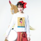 げーむやかんのカラー黒髪女子浜辺 Long sleeve T-shirtsの着用イメージ(表面)