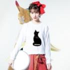たくらだ猫の猫グッズのにゃにかようか猫 Long sleeve T-shirtsの着用イメージ(表面)