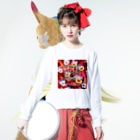 H.mildblud illustration STOREのリボンの赤毛 Long sleeve T-shirtsの着用イメージ(表面)