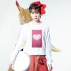 Teatime ティータイムのハート Heart ピンク pink Long sleeve T-shirtsの着用イメージ(表面)