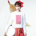 Teatime ティータイムのピンク ストライプ 水彩 絵の具 Long sleeve T-shirtsの着用イメージ(表面)