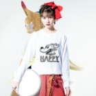 nidan-illustrationのhappy dog #1 (black ink) Long sleeve T-shirtsの着用イメージ(表面)