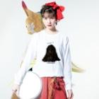 光平洋子の天使のかしこいプーリー犬、寄りかかる。 Long sleeve T-shirtsの着用イメージ(表面)