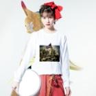 オトナヨカエンタープライズ(ぽの字の人)の田方郡函南町民を導く自由の女神 Long sleeve T-shirtsの着用イメージ(表面)