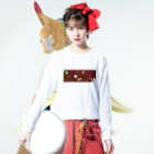 happy lifeのリアル人生ゲーム ロゴグッズ〜赤ver〜 Long sleeve T-shirtsの着用イメージ(表面)