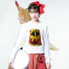 saya_momoのまねきかぼちゃくん。 Long sleeve T-shirtsの着用イメージ(表面)