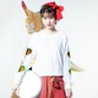 wochinaのハート(みどり✖おれんじ) Long sleeve T-shirtsの着用イメージ(表面)