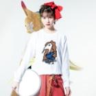 ダイナマイト87ねこ大商会のゲロマブ鶴スケバン Long sleeve T-shirtsの着用イメージ(表面)