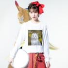 kinako-japanのしーちゃんとたんぽぽ Long sleeve T-shirtsの着用イメージ(表面)