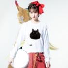SAIWAI DESIGN STOREのまんまるクロネコ Long sleeve T-shirtsの着用イメージ(表面)