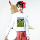 kawachu5の室見川増水 Long sleeve T-shirtsの着用イメージ(表面)