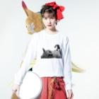 ほのかすまいる🐱歌×猫のほのけんグッズ2020!(白黒) Long sleeve T-shirtsの着用イメージ(表面)