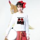 【天狗ch.】OFFICIAL GOODS STOREのマント天狗ロンT(黒文字) Long sleeve T-shirtsの着用イメージ(表面)