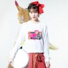 沢ちゃん♪のピンクのライオン Long sleeve T-shirtsの着用イメージ(表面)