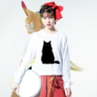 SAIWAI DESIGN STOREのクロネコこぶお2021 Long sleeve T-shirtsの着用イメージ(表面)