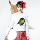 Cody the LovebirdのChubby Bird ウロコインコ Long sleeve T-shirtsの着用イメージ(表面)