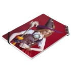 FUCHSGOLDの人形写真:ダンジョンアタッカー・魔法使いの帽子と杖を装備したブロンド美少女の冒険者 Doll picture: Blonde witch as donjon attacker Notesの平置き