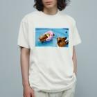 ちい むう ととろ Chi Mu Totoroの浮かぶ事に気付き  泳がなくなった犬 Organic Cotton T-Shirt