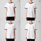 DECORのネコがいっぱい ひまわりver. Ringer T-shirtsのサイズ別着用イメージ(女性)