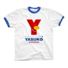 YASUKOのYマーク(No.1) Ringer T-shirtsの襟元のリブ部分