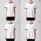Gutchee ProjectsのLast penguin_tsb01m Ringer T-shirtsのサイズ別着用イメージ(女性)