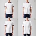 - さらさら -の黒にゃー Ringer T-shirtsのサイズ別着用イメージ(男性)