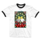 まめるりはことりのオカメインコ椿【まめるりはことり】 Ringer T-shirts