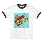 Mieko_Kawasakiの欲望のピザ🍕 GUILTY PLEASURE PIZZA HIGH HEEL Ringer T-shirts