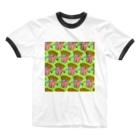 Mieko_Kawasakiの魅惑のフライドポテト🍟 GULTY PLEASURE FRENCH FRIES GREEN Ringer T-Shirt