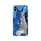 ゆるかめ[うさハム関係グッズ販売]のオシャンティーうさぎ青 Soft clear smartphone cases