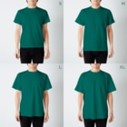 古書 天牛書店のグランヴィル「ワニ」 <アンティーク・プリント> T-shirtsのサイズ別着用イメージ(男性)
