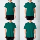 schwartz supply.のラッキーパンチピザクラブ 案内看板 T-shirtsのサイズ別着用イメージ(男性)
