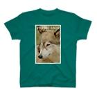 工房斑狼の狼犬ロックフォト T-shirts