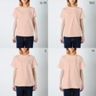 JapaneseRubberStampsのソーシャルディスタンスな猫たち T-shirtsのサイズ別着用イメージ(女性)
