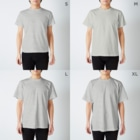MOPIE GAME -ムーピーゲーム-のあいつのポエム「えんぴつ」 T-shirtsのサイズ別着用イメージ(男性)