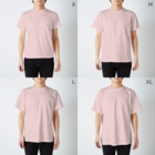 フルタハナコの「ハナばたけ」の司書のしおりさん T-shirtsのサイズ別着用イメージ(男性)