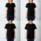海老婆の黒魔術魔法陣Tシャツ T-shirtsのサイズ別着用イメージ(女性)