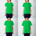 SILVERWOLFMENmixculturedesinのsteersからの移動商品「狼カリグラフィー2型」 T-shirtsのサイズ別着用イメージ(女性)