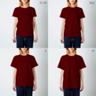 黒炎の足跡 T-shirtsのサイズ別着用イメージ(女性)