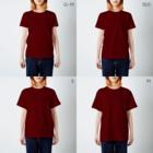 ねずみのおみせ suzuri店のしろちゃんと一緒に筋トレしよう T-shirtsのサイズ別着用イメージ(女性)